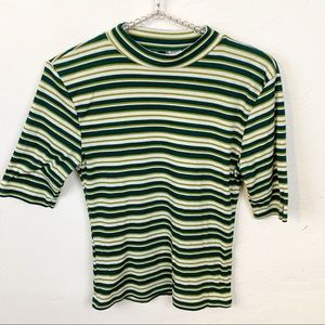 Divided l Green Striped Ribbed Short Sleeve